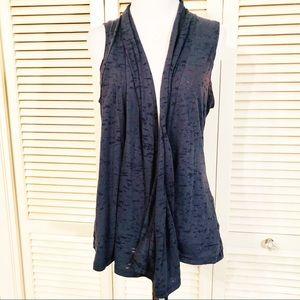 Maurice's | Navy Burnout Material Drape Vest